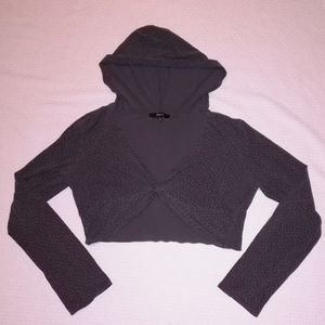 Express Hooded Cropped Star Twist Shrug